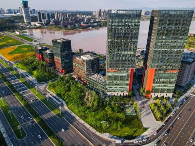 An aerial view of Chengdu Science City, Tianfu Jingrong Center, and Tianfu New Economy Industrial Park under the blue sky, beside Xinglong lake, Tianfu new district, Chengdu city, Sichuan province, China, 20 August 2020 (Photo: Reuters).