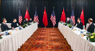 US Secretary of State Antony Blinken (2nd R), joined by National Security Advisor Jake Sullivan (R), speaks while facing Yang Jiechi (2nd L), director of the Central Foreign Affairs Commission Office, and Wang Yi (L), China's State Councilor and Foreign Minister, at the opening session of US-China talks in Anchorage, Alaska, 18 March 2021 (Photo: Frederic J Brown/Pool via Reuters).
