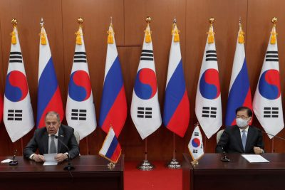 Russian Foreign Minister Sergei Lavrov speaks during a joint announcement with South Korean Foreign Minister Chung Eui-yong at the Foreign Ministry in Seoul, South Korea, 25 March 2021 (Photo: Ahn Young-joon/Pool via Reuters).