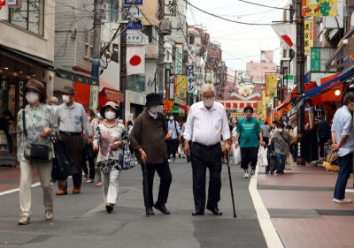 Elderly people stroll at a shopping street in Tokyo's Sugamo district on the Respect for the Aged Day, 21 September 2020 (Photo: Yoshio Tsunoda/AFLO).