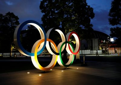 The Olympic Rings monument is seen outside the Japan Olympic Committee (JOC) headquarters near the National Stadium in Tokyo, Japan, 23 June 2021 (Photo: Reuters/Issei Kato).