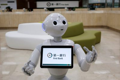 SoftBank's robot 'Pepper', is seen at First Bank branch as a concierge to welcome customers in Taipei, Taiwan, 6 October 2016 (Photo: Reuters/Tyrone Siu).