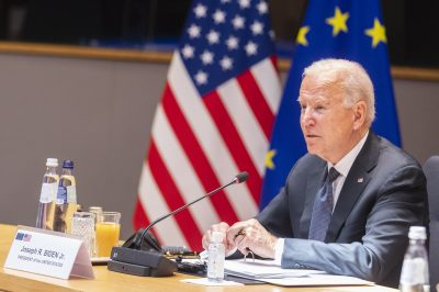 US President Joe Biden addresses his European partners the day after the NATO summit at the EU-US Summit in Brussels, Belgium, 15 June 2021 (Photo: Nicolas Landemard/Le Pictorium/Cover Images).