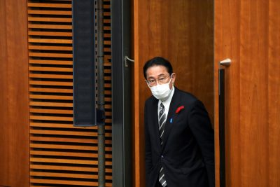 Japanese Prime Minister Fumio Kishida walks for a news conference at the prime minister's official residence in Tokyo, Japan, 14 October 2021 (Eugene Hoshiko/Pool via REUTERS)